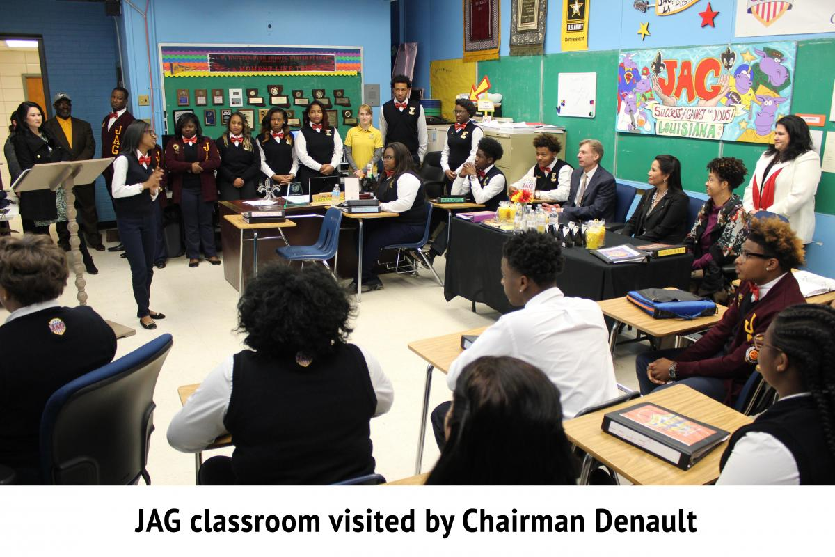 JAG classroom visited by Chairman Denault
